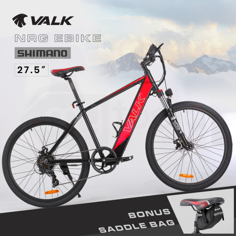 """VALK 27.5"""" Electric Hardtail Mountain e-Bike, Shimano, Integrated 36V 250W Battery, Disc Brakes, Black and Red by Valk"""