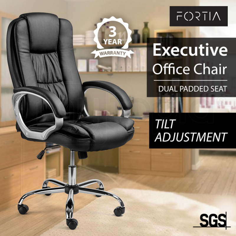FORTIA Executive Premium PU Leather Office Computer Chair Padded Seat Black by Fortia