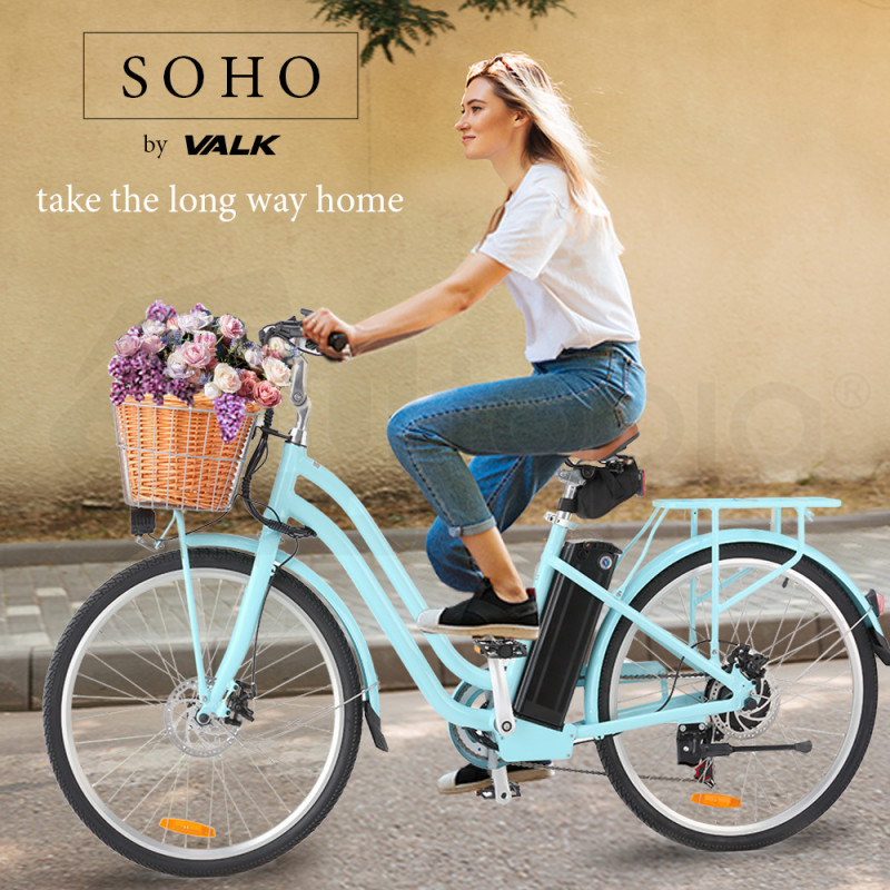 VALK Vintage Style Electric Bike, with Step-Through Frame, Light Blue by Valk