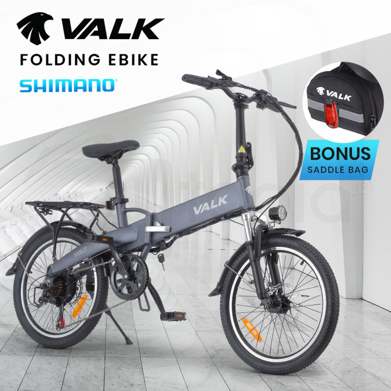 VALK Volt 36V 250W Folding Electric e-Bike, Alloy Frame, Disc Brakes, LED Lights, Matte Grey by Valk
