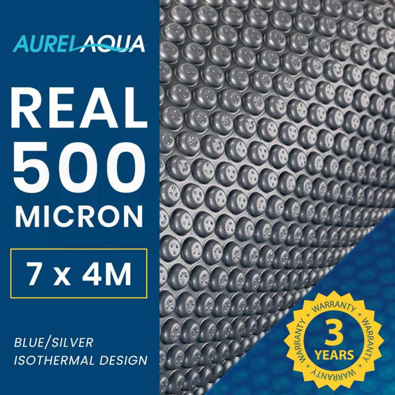 AURELAQUA 500 Micron 7x4m Solar Thermal Blanket Swimming Pool Cover, Blue and Silver by Aurelaqua