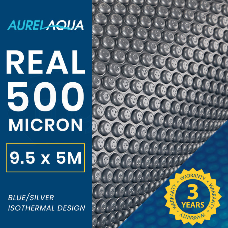 AURELAQUA 500 Micron 9.5x5m Solar Thermal Blanket Swimming Pool Cover, Blue and Silver by Aurelaqua