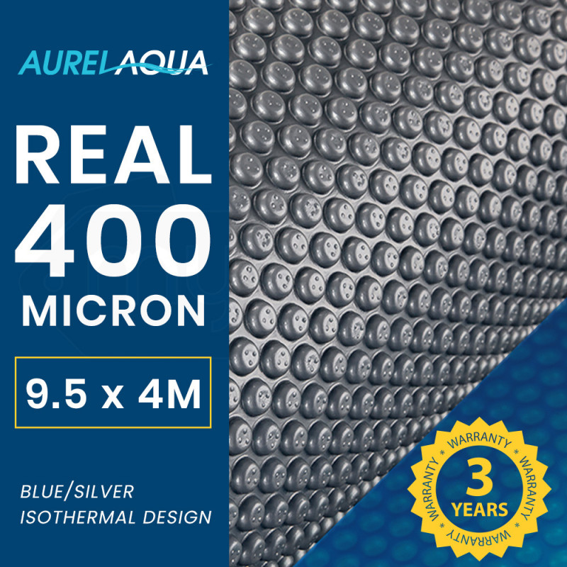 AURELAQUA 400 Micron 9.5x4m Solar Thermal Blanket Swimming Pool Cover, Blue and Silver by Aurelaqua