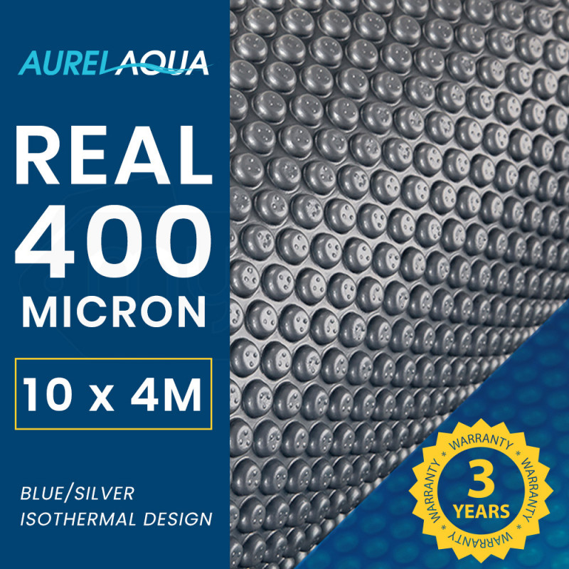 AURELAQUA 400 Micron 10x4m Solar Thermal Blanket Swimming Pool Cover, Blue and Silver by Aurelaqua