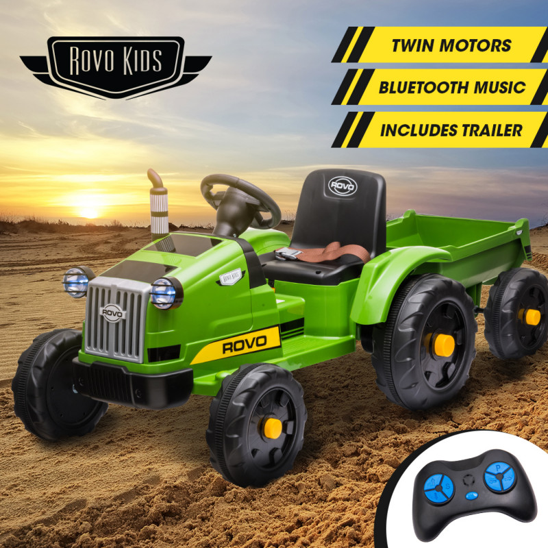 ROVO KIDS Electric Battery Operated Ride On Tractor Toy, Remote Control, Green by Rovo Kids