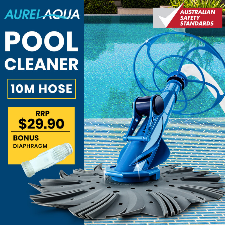 Aurelaqua Automatic Swimming Pool Cleaner Vacuum, 10M Hose, Bonus Diaphram, Blue by Aurelaqua