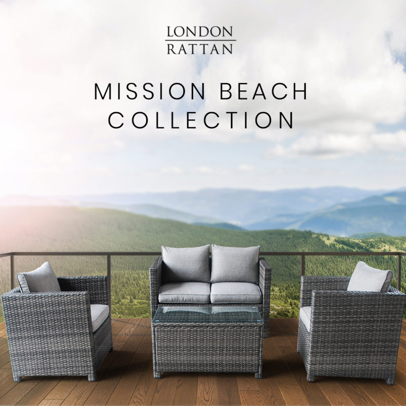 LONDON RATTAN 4pc Outdoor Furniture Wicker Lounge Set with Chairs and Coffee Table by London Rattan