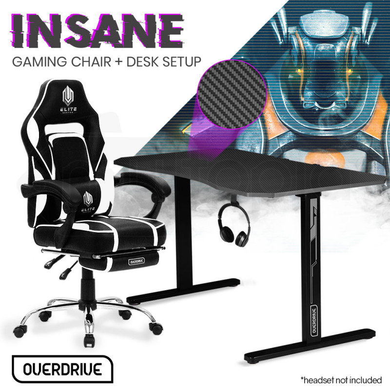OVERDRIVE Gaming Chair with Footrest and Desk Setup Combo, Black & Grey by Overdrive