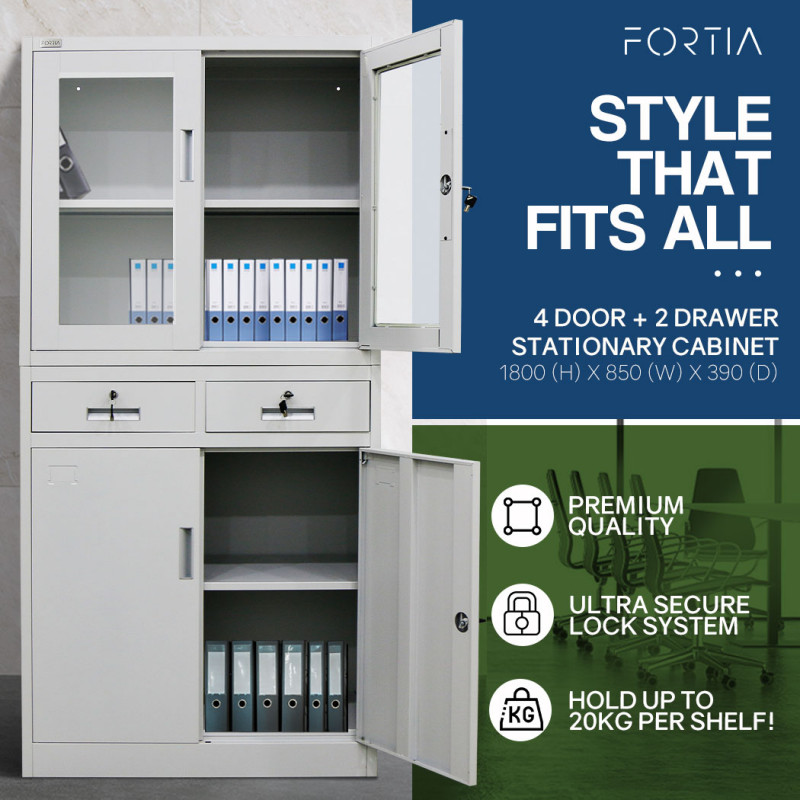 FORTIA 4-Door Lockable Metal Stationary Storage Cabinet with Display Windows, 2 Drawers, Grey by Fortia