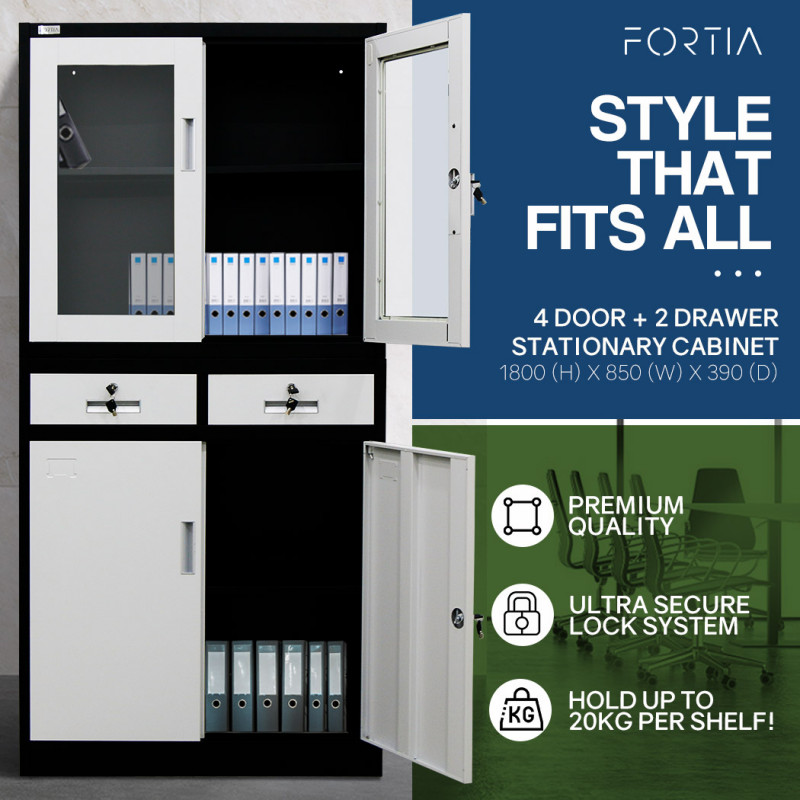 FORTIA 4-Door Lockable Metal Stationary Storage Cabinet with Display Windows, 2 Drawers, Black and Grey by Fortia