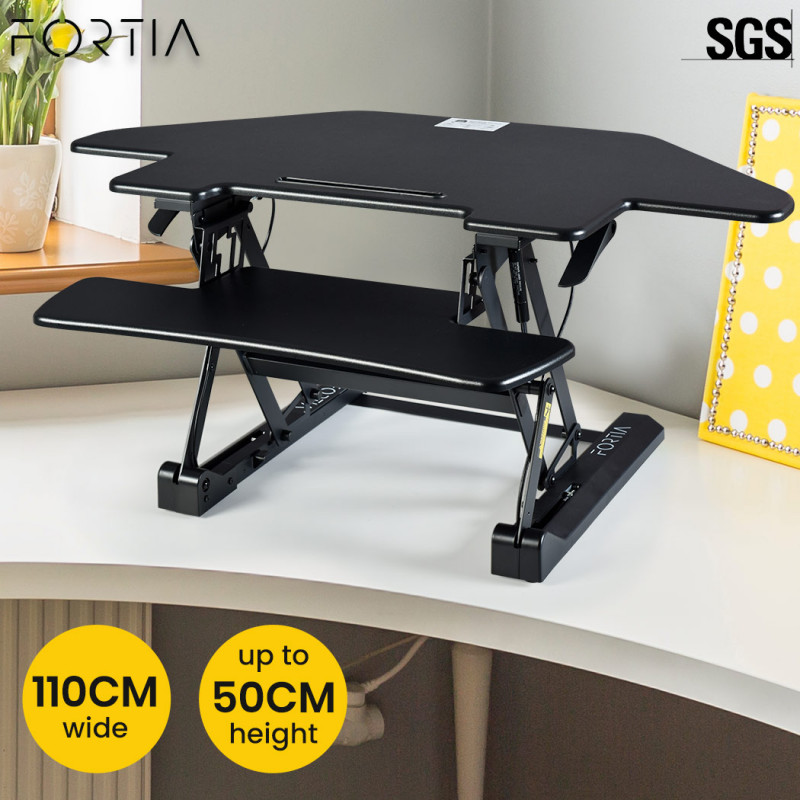 FORTIA Adjustable Standing Desk Riser Monitor Stand for Corner Desk, Black by Fortia