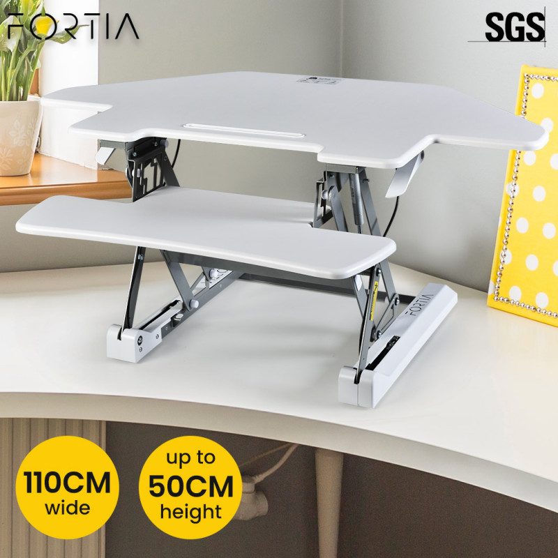 FORTIA Adjustable Standing Desk Riser Monitor Stand for Corner Desk, White and Silver by Fortia