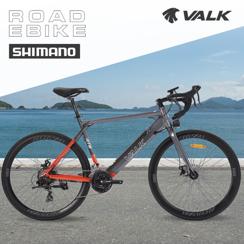 VALK RT5 Electric Road Bicycle e-Bike, Grey/Orange						 by Valk