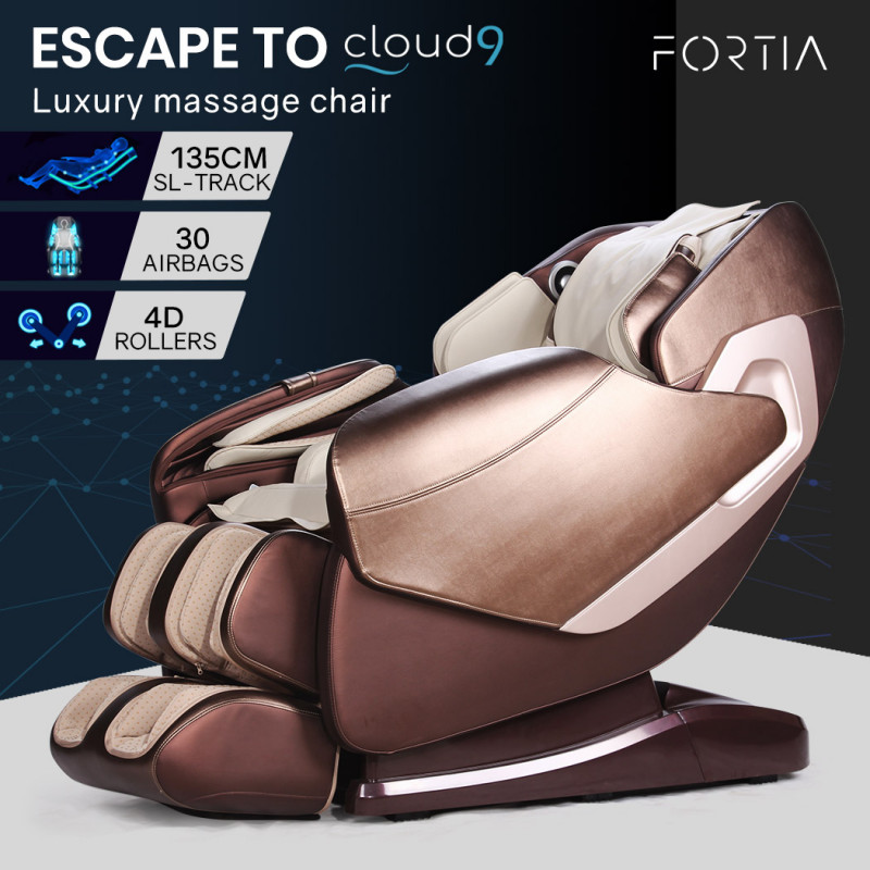 FORTIA Cloud 9 MKII Electric Massage Chair Full Body Zero Gravity  with Heat and Bluetooth Cream by Fortia