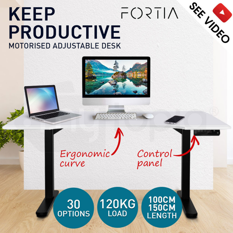 FORTIA Curve Sit/Stand Motorised Motorised Height Adjustable Desk 150cm White/Black by Fortia