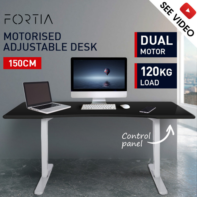 FORTIA Sit/Stand Motorised Curve Height Adjustable Desk 150cm Matte White/Silver by Fortia