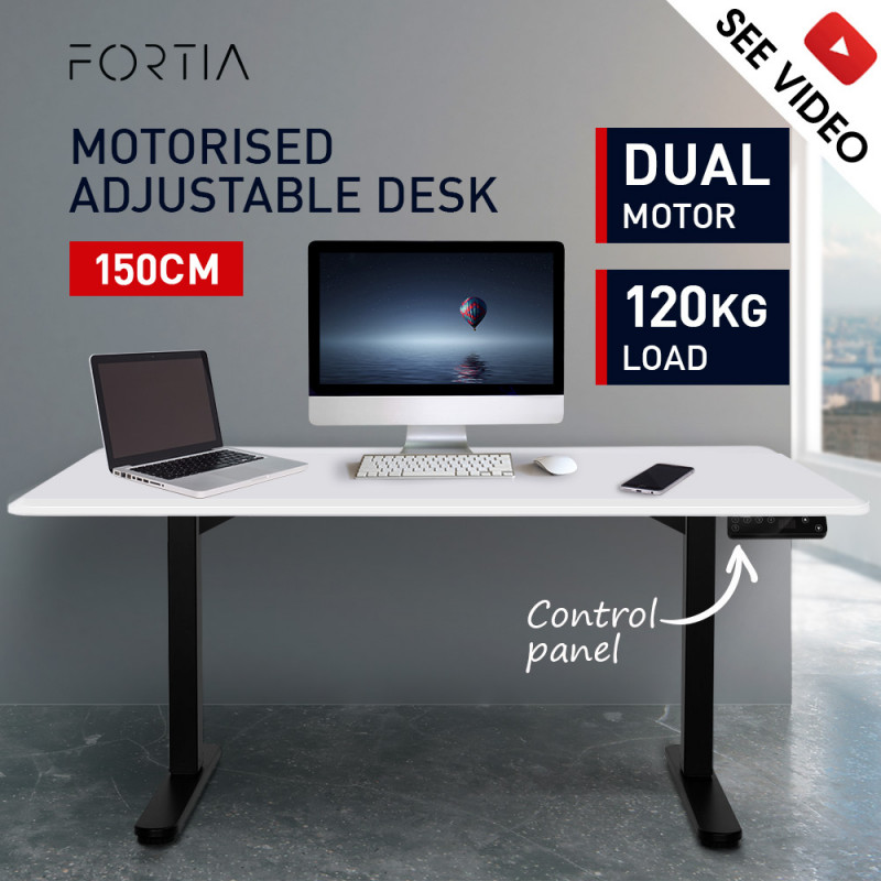 FORTIA Matte White/Black 150cm Sit Stand Height Adjustable Standing Desk by Fortia