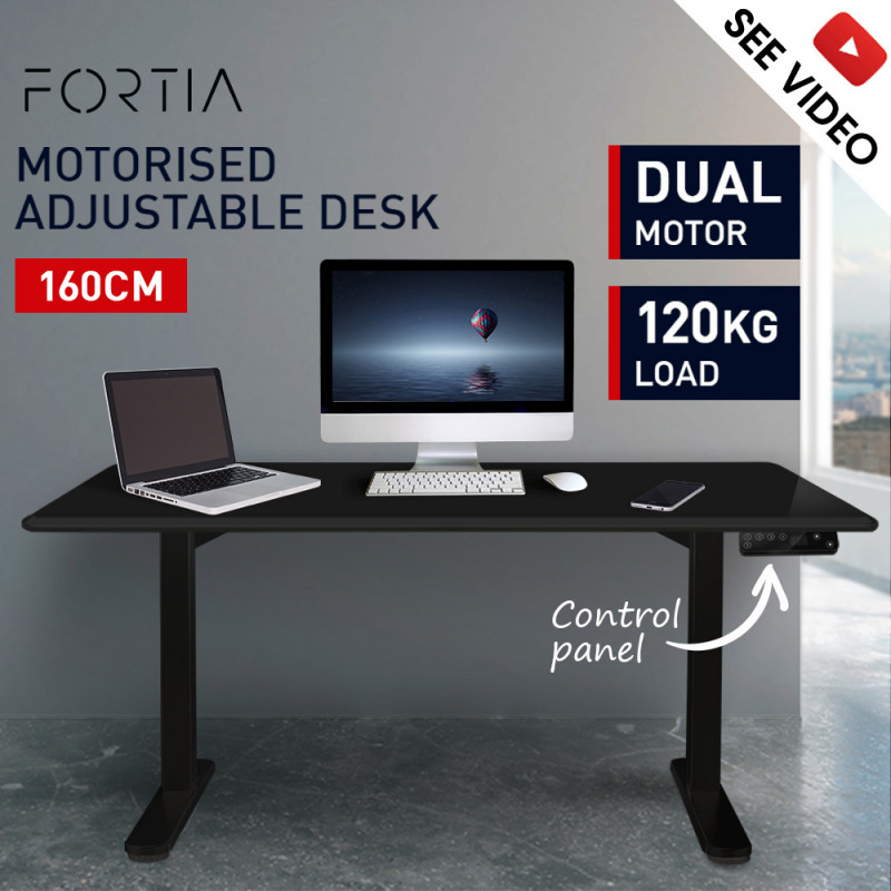 FORTIA Sit/Stand Motorised Height Adjustable Desk 160cm Black/Black by Fortia