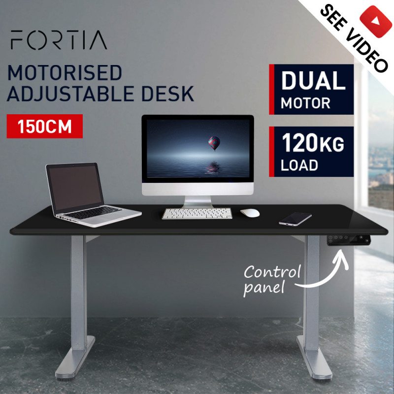 FORTIA Sit/Stand Motorised Height Adjustable Desk 150cm Black/Silver by Fortia