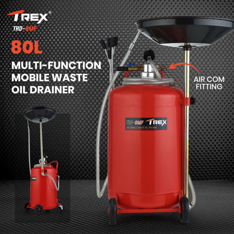 TREX 80L Mobile Waste Oil Drainer Tank, Telescopic, Pneumatic, Extractor Probes, Workshop by T-Rex