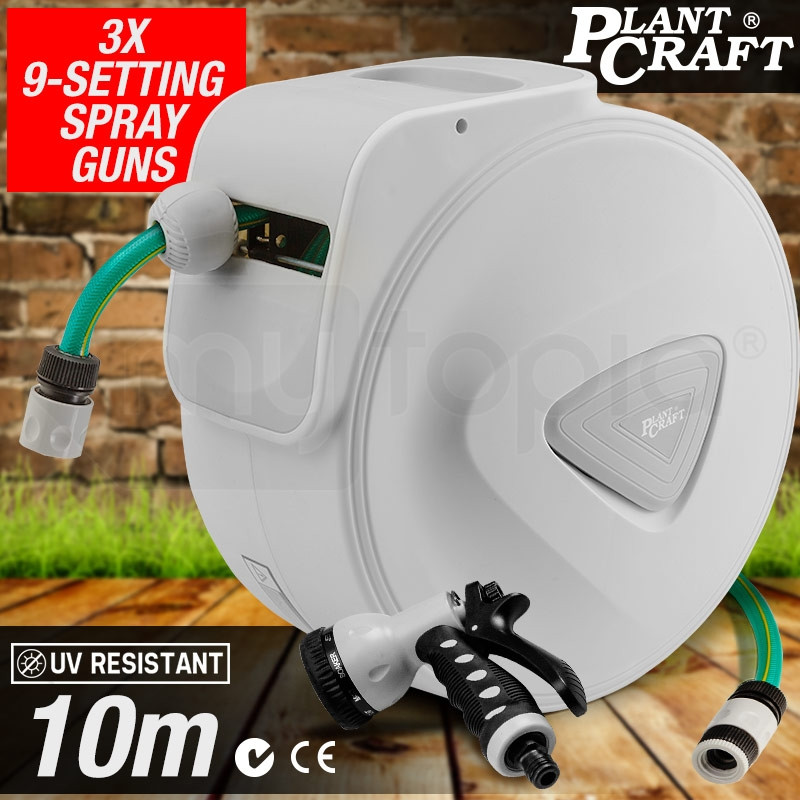 PLANTCRAFT 10M Retractable Garden Water Hose Reel Storage Spray Gun Rewind by PlantCraft
