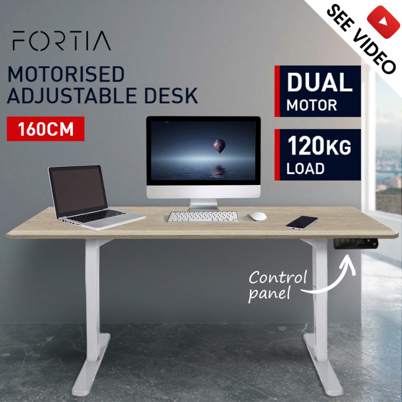 FORTIA Sit/Stand Motorised Height Adjustable Desk 160cm White/White Oak by Fortia