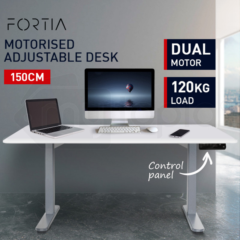 FORTIA 150cm Sit Stand Up Motorised Office Desk - White & Silver Frame by Fortia