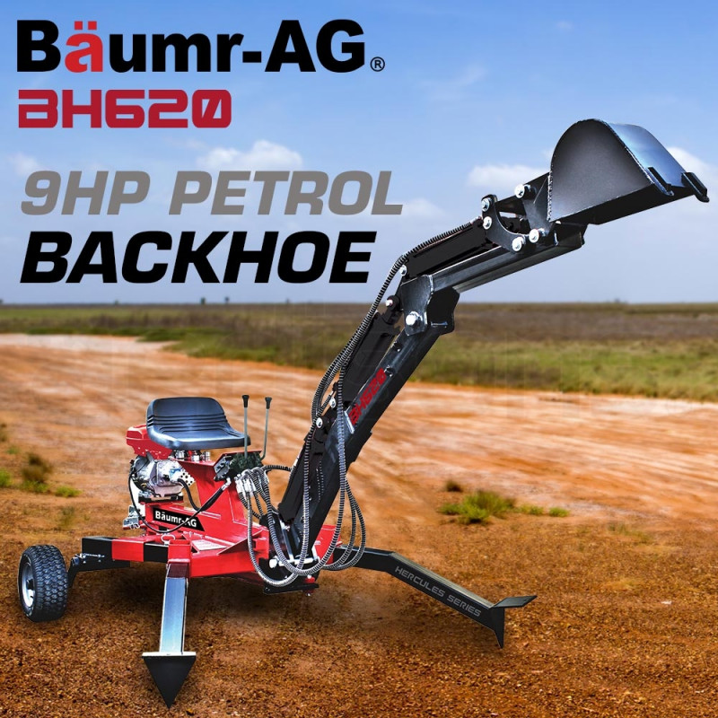 Baumr-AG 9HP Backhoe - Petrol Excavator 4-Stroke Hydraulic Bucket Towable  by Baumr-AG