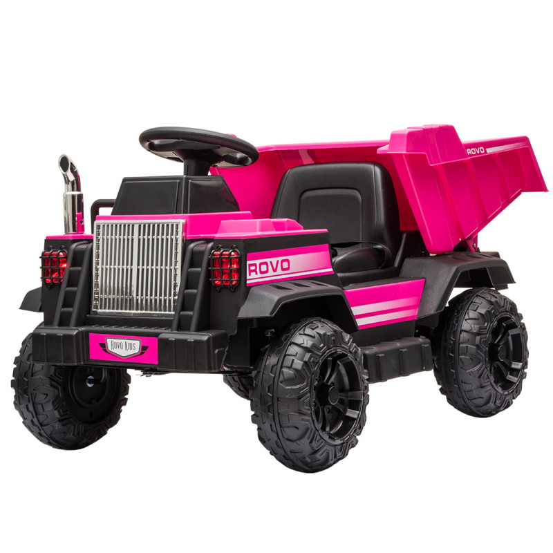 ROVO KIDS Electric Ride On Toy Dump Truck with Bluetooth Music - Pink by Rovo Kids