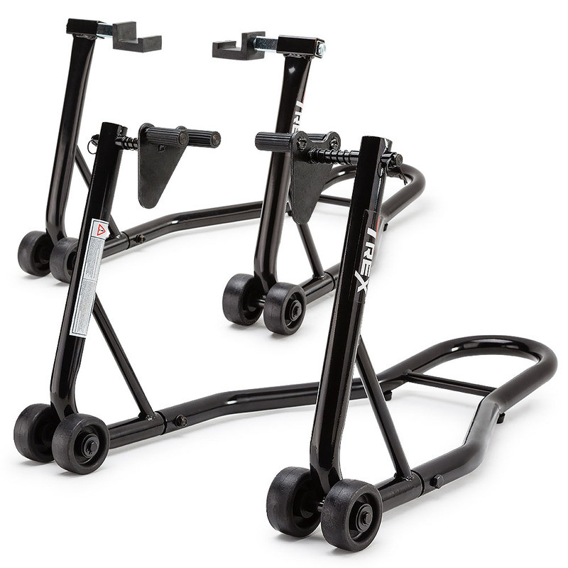T-REX Motorcycle Stands Front & Rear Heavy-Duty Motorbike Lift Paddock Steel  by T-Rex