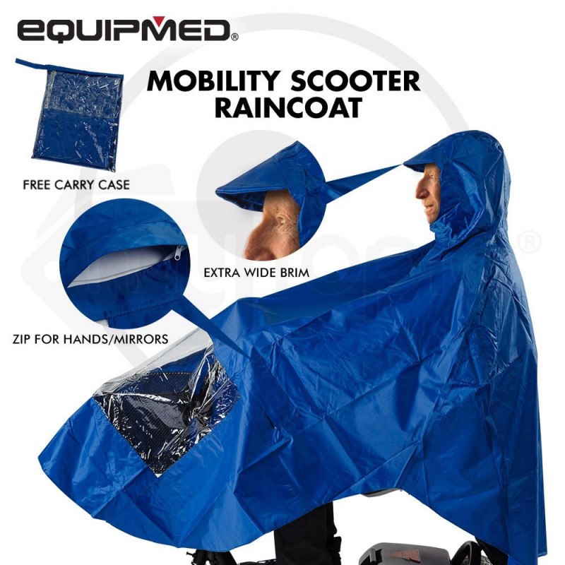 EQUIPMED Mobility Scooter Rain Cape Waterproof Cover Coat Poncho 3 & 4 Wheel by Equipmed