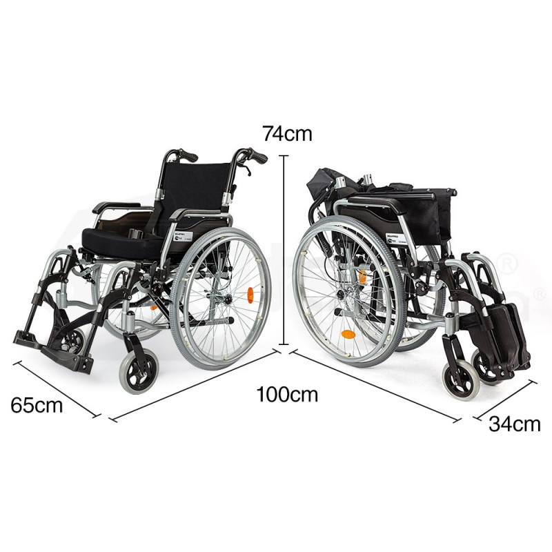 """EQUIPMED 24"""" Folding Wheelchair Alloy with Brakes Folding Armrests for Dining by Equipmed"""