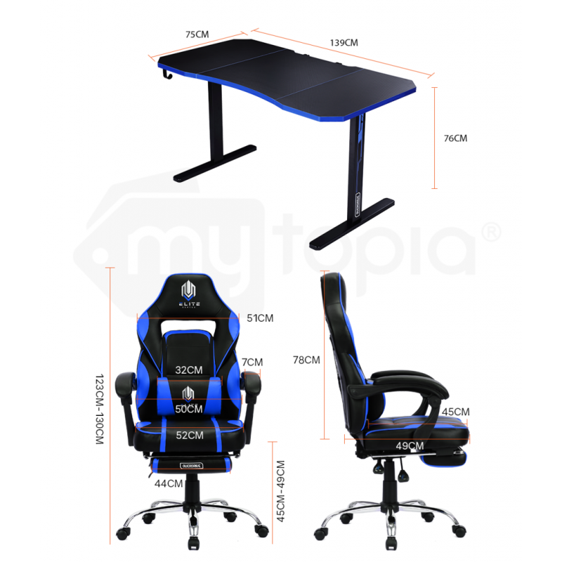 OVERDRIVE Gaming Chair with Footrest and Desk Setup Combo, Black & Blue by Overdrive