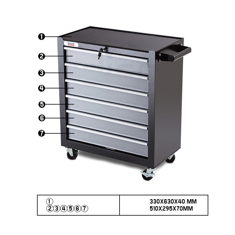 BULLET 6 Drawer Tool Box Cabinet Trolley Garage Toolbox Storage Mechanic Chest Black and Silver by Bullet Pro