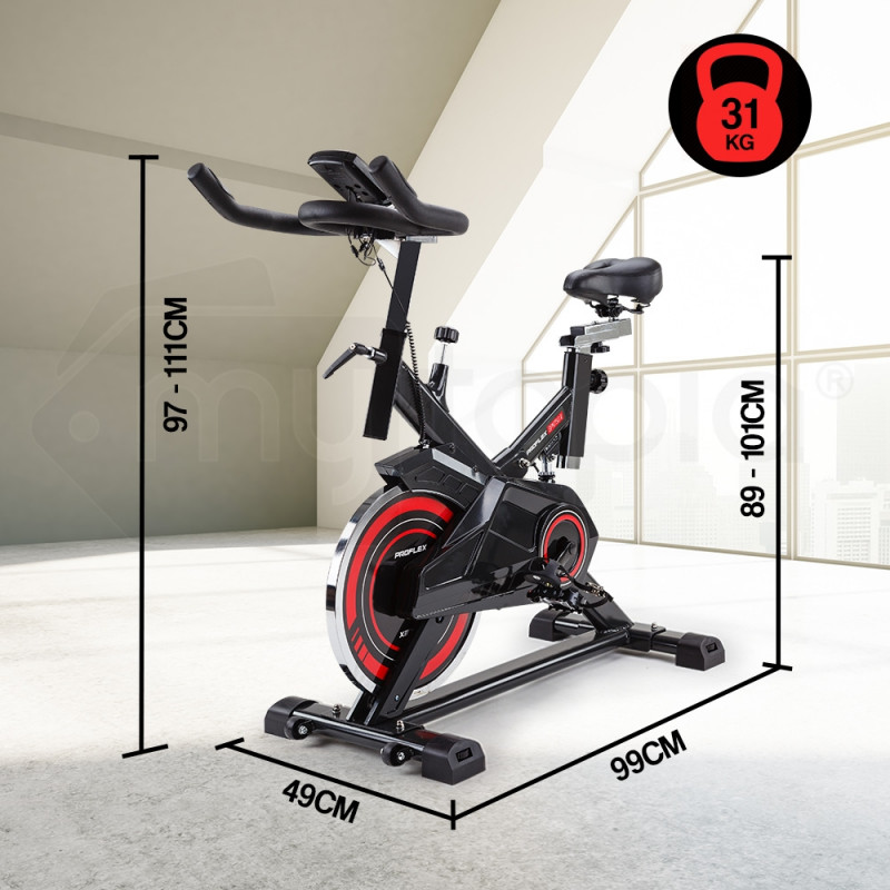 PROFLEX Commercial Spin Bike Flywheel Exercise Home Workout Gym - Red by Proflex