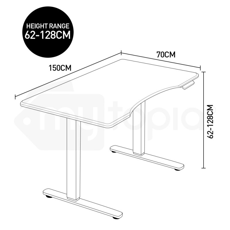 FORTIA Sit/Stand Motorised Curve Height Adjustable Desk 150cm Black/Black by Fortia