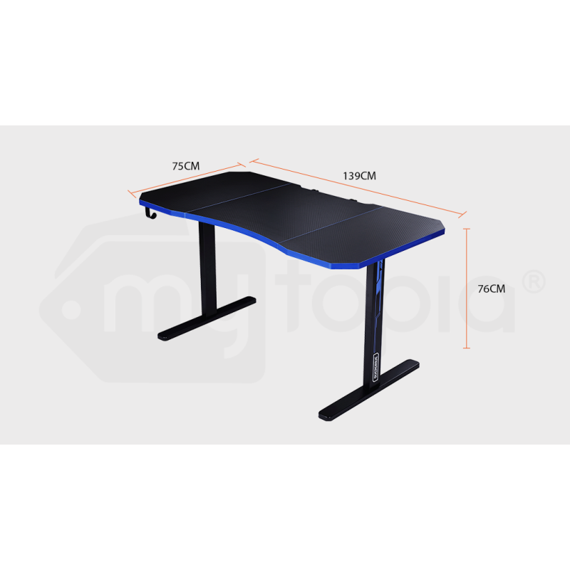 OVERDRIVE Gaming PC Desk Carbon Fiber Style, Black and Blue, with Headset Holder, Gaming Mouse Pad by Overdrive