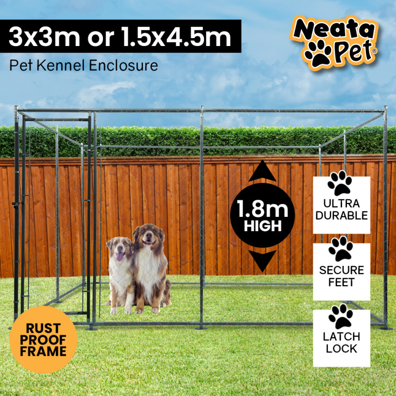 NEATAPET 3x3m or 4.5x1.5m Outdoor Chain Wire Dog Enclosure Kennel by NeataPet