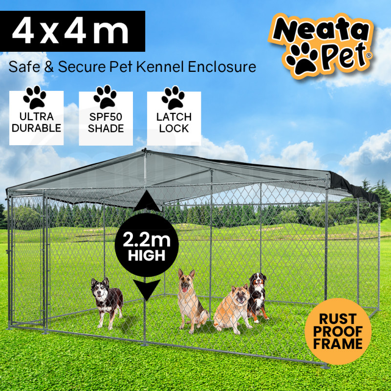 NEATAPET 4x4m Outdoor Chain Wire Dog Enclosure Kennel with Black Shade Cover by NeataPet