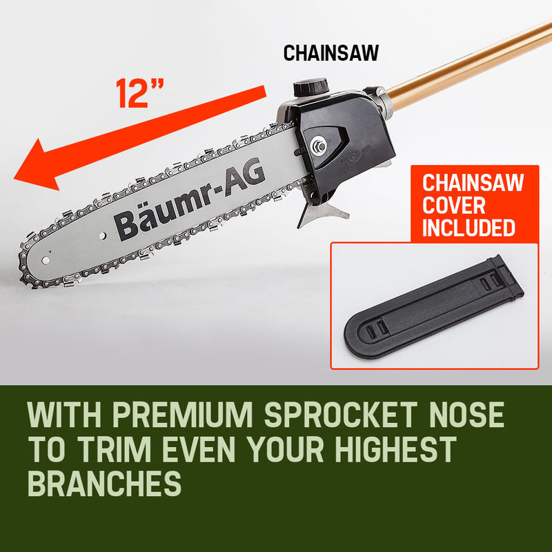 65CC Long Reach Pole Chainsaw Hedge Trimmer Pruner Chain Saw Tree Multi Tool by Baumr-AG