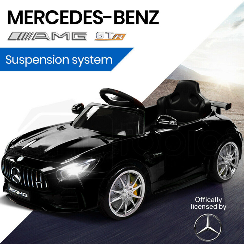 Kids Ride On Car Licensed Mercedes-Benz AMG GTR Electric Toy Black by Rovo Kids
