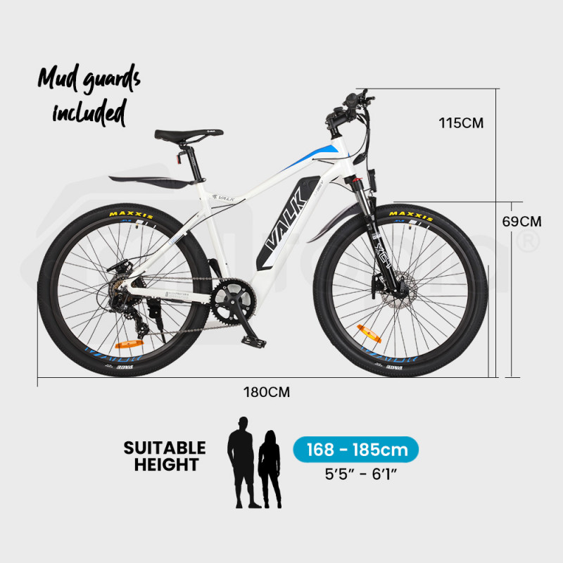 "VALK eMTB Maxxis Velo Shimano 36V 250W Electric Mountain Bike 27.5"" White - MX7  by Valk"