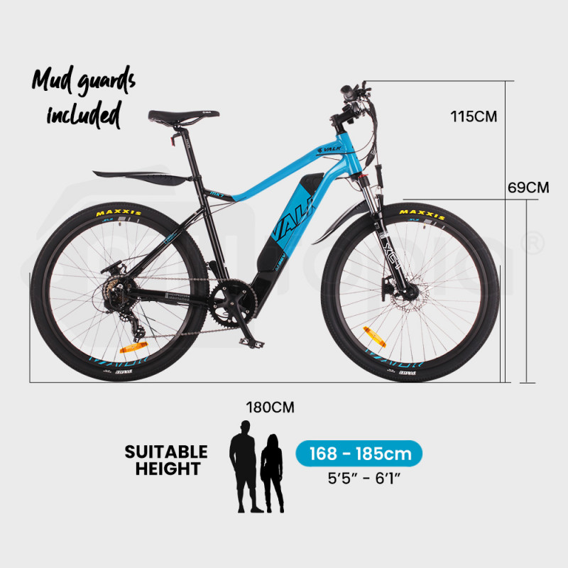 "VALK eMTB Maxxis Shimano Velo 36V 250W Electric Mountain Bike eBike 27.5"" Blue - MX7 by Valk"
