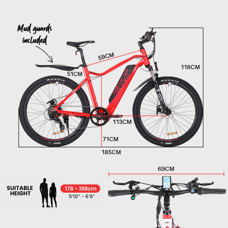 "VALK eMTB Maxxis Shimano Velo 36V 250W Electric Mountain Bike eBike 29"" Red - MX9 by Valk"