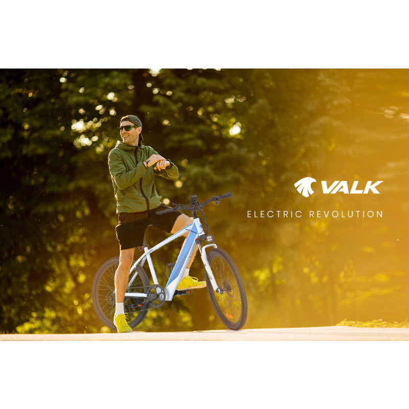 """VALK 27.5"""" Electric Hardtail Mountain e-Bike, Shimano, Integrated 36V 250W Battery, Disc Brakes, White and Blue by Valk"""