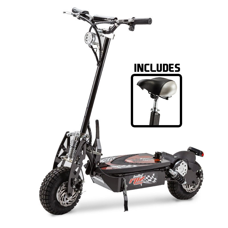 BULLET® Black/Red 48V 1000W Turbo w/ LED Folding Electric Scooter For Adults - RPZ1600 by Bullet