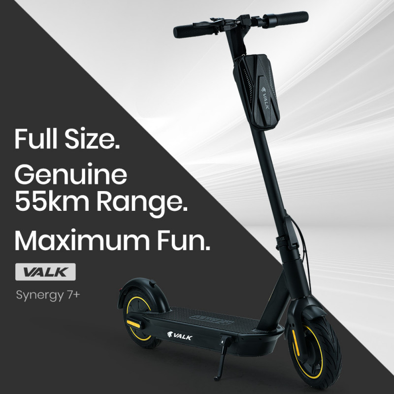 VALK Synergy 7 Plus 15Ah 400W Folding Electric Scooter for Adults, 55km Range, 30km/h, Black by Valk