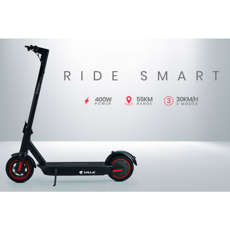 VALK Synergy 7 Plus 15Ah 400W Folding Electric Scooter for Adults, 55km Range, 30km/h, Black / Red by Valk