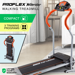 PROFLEX Electric Compact Walking Treadmill Home Exercise Equipment Black/Silver/Orange