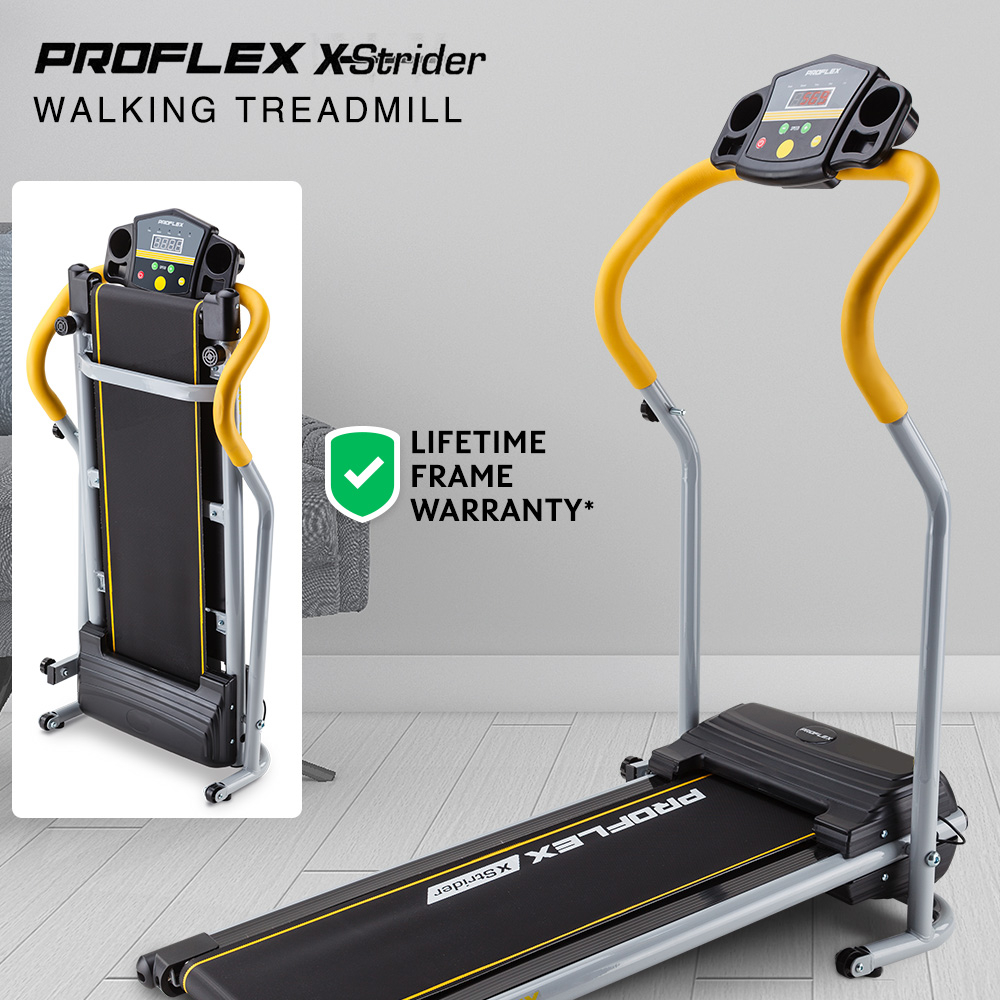 PROFLEX Electric Compact Walking Treadmill Home Exercise Equipment Black/Silver/Yellow
